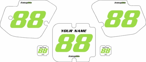 1988-1989 Kawasaki KX125 Custom Pre-Printed Background White - Green Numbers by Factory Ride