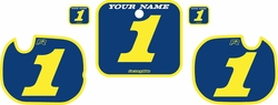 Fits Honda CR250 1984 Blue Pre-Printed Backgrounds - Yellow Bold Pinstripe by FactoryRide