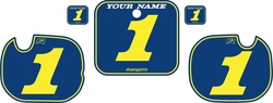 Fits Honda CR250 1984 Blue Pre-Printed Backgrounds - Yellow Pinstripe by FactoryRide