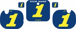 Fits Honda CR250 1984 Blue Pre-Printed Backgrounds - Yellow Numbers by FactoryRide