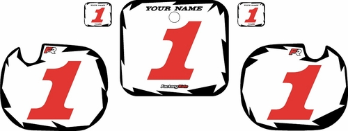 1984 Honda CR250 Pre-Printed Backgrounds White - Black Shock - Red Numbers by FactoryRide