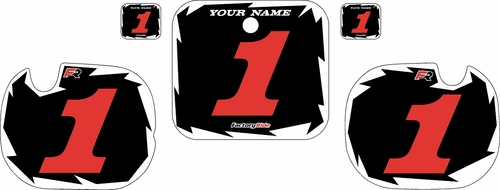 1984 Honda CR250Pre-Printed Backgrounds Black - White Shock - Red Numbers by FactoryRide
