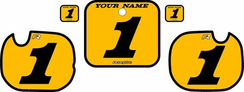 1984 Honda CR250 Pre-Printed Backgrounds Yellow - Black Bold Pinstripe by FactoryRide