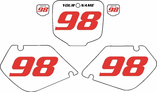 1998-1999 Honda CR125 Pre-Printed Backgrounds White - Red Numbers by FactoryRide