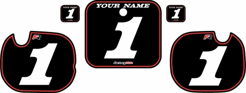 1984 Honda CR250 Pre-Printed Backgrounds Black - Red Pinstripe by FactoryRide