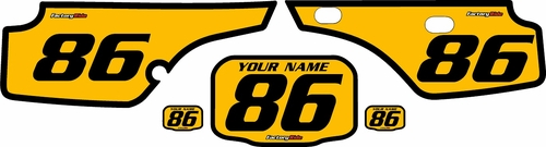 1986-1995 Honda XR250 Pre-Printed Backgrounds Yellow - Black Bold Pinstripe by FactoryRide