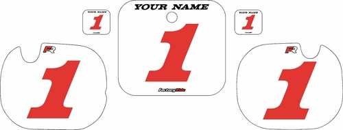 1984 Honda CR250 Pre-Printed Backgrounds White - Red Numbers by FactoryRide