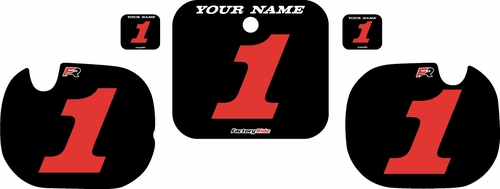 1984 Honda CR250 Pre-Printed Backgrounds Black - Red Numbers by FactoryRide
