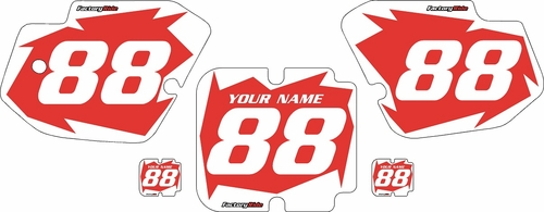 1988-1989 Kawasaki KX250 Custom Pre-Printed Background Red - White Shock Series by Factory Ride