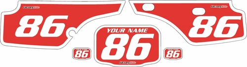 1986-1995 Honda XR250 Pre-Printed Backgrounds Red - White Bold Pinstripe by FactoryRide