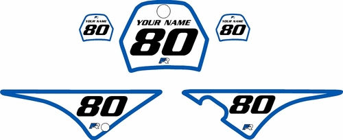 1996-2013 Yamaha PW80 Pre-Printed Backgrounds White - Blue Bold Pinstripe by FactoryRide