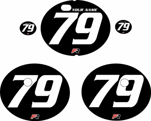 1979-1980 Suzuki RM125 Black Pre-Printed Backgrounds - White Numbers by FactoryRide