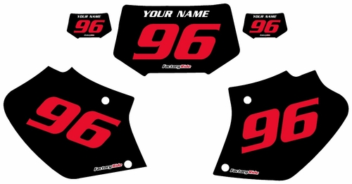 1996-2004 Honda XR400 Custom Black Pre-Printed Background - Red Numbers by Factory Ride