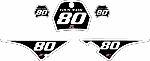 1996-2013 Yamaha PW80 Black Pre-Printed Background - White Bold Pinstripe by Factory Ride