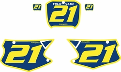 Fits Honda CR125 2000-2001 Blue Pre-Printed Backgrounds - Yellow Bold Pinstripe by FactoryRide