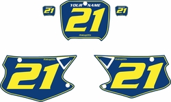 Fits Honda CR125 2000-2001 Blue Pre-Printed Backgrounds - Yellow Pinstripe by FactoryRide
