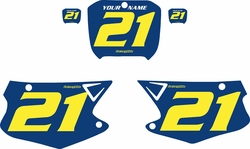Fits Honda CR125 2000-2001 Blue Pre-Printed Backgrounds - Yellow Numbers by FactoryRide