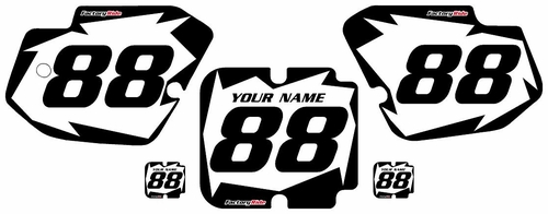 1988-1989 Kawasaki KX250 Custom Pre-Printed White Background - Black Shock Series by Factory Ride