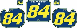 Fits Honda CR500 1984 Blue Pre-Printed Backgrounds - Yellow Pinstripe by FactoryRide
