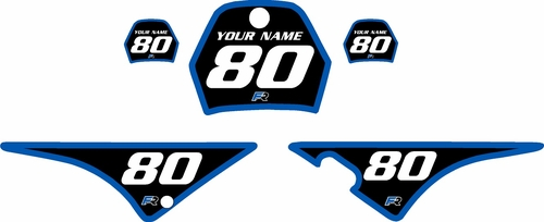 1996-2013 Yamaha PW80 Pre-Printed Backgrounds Black - Blue Bold Pinstripe by FactoryRide