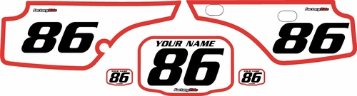 1986-1995 Honda XR250 Pre-Printed Backgrounds White - Red Bold Pinstripe by FactoryRide