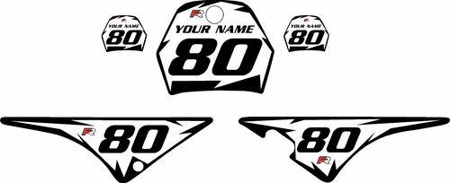 1996-2013 Yamaha PW80 White Pre-Printed Background - Black Shock Series by Factory Ride