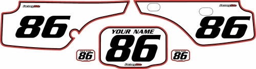 1986-1995 Honda XR250 Custom Pre-Printed Background White - Red Pro Pinstripe by Factory Ride