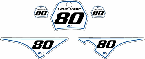 1996-2013 Yamaha PW80 Pre-Printed Backgrounds White - Blue Pinstripe by FactoryRide