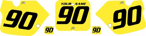 1989-1992 Suzuki RM250 Bright Yellow Pre-Printed Backgrounds - Black numbers by FactoryRide