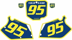 Fits Honda CR250 1995-1996 Blue Pre-Printed Backgrounds - Yellow Bold Pinstripe by FactoryRide