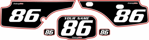 1986-1995 Honda XR250 Custom Pre-Printed Background Black - Red Pro Pinstripe by Factory Ride