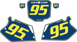 Fits Honda CR250 1995-1996 Blue Pre-Printed Backgrounds - Yellow Pinstripe by FactoryRide