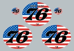 Factory Ride Vintage Oval Number Plate Background Decals USA - Red, White & Blue