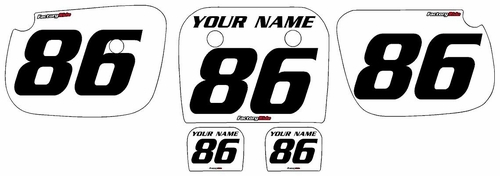 1985-2004 Kawasaki KX60 White Pre-Printed Background - Black Numbers by Factory Ride
