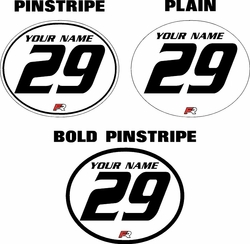 Vintage Oval Motocross Pre-Printed Number Plate Backgrounds CHOOSE YOUR COLORS, NUMBER STYLES, AND BACKGROUND STYLES!