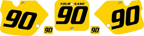 1989-1992 Suzuki RM250 Yellow Pre-Printed Backgrounds - Black numbers by FactoryRide
