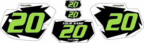 1989-1994 Kawasaki KDX 200 Custom Pre-Printed Black Background - White Shock Series - Green Number by Factory Ride