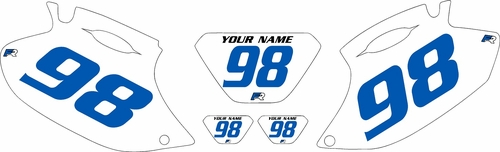 1998-2000 Yamaha WR400 Pre-Printed Backgrounds White - Blue Numbers by FactoryRide