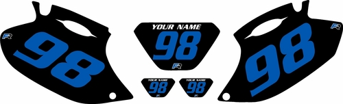 1998-2000 Yamaha WR400 Pre-Printed Backgrounds Black - Blue Numbers by FactoryRide