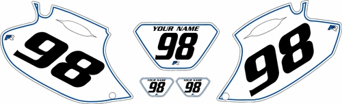 1998-2000 Yamaha WR400 Pre-Printed Backgrounds White - Blue Pinstripe by FactoryRide