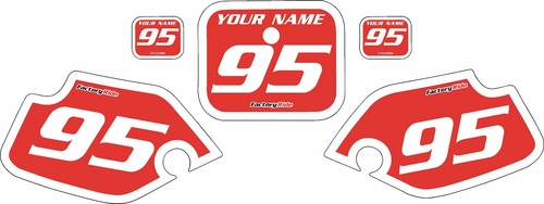 1990-1995 Honda CR80 Pre-Printed Backgrounds Red - White Bold Pinstripe by FactoryRide
