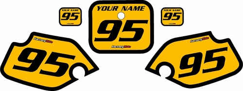 1990-1995 Honda CR80 Pre-Printed Backgrounds Yellow - Black Bold Pinstripe by FactoryRide