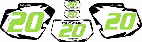 1989-1994 Kawasaki KDX 200 Custom Pre-Printed White Background - Black Shock Series - Green Number by Factory Ride
