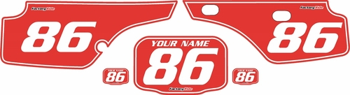 1986-1995 Honda XR250 Pre-Printed Backgrounds Red - White Pinstripe by FactoryRide