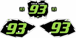 1992-1993 Kawasaki KX125 Pre-Printed Black Background - White Shock Series - Green Number by Factory Ride