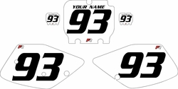 1992-1993 Kawasaki KX125 White Pre-Printed Backgrounds - Black Numbers by Factory Ride