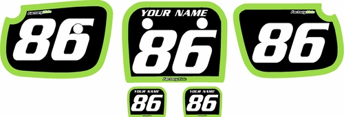 1986-2004 Kawasaki KX60 Pre-Printed Backgrounds Black - Green Bold Pinstripe by FactoryRide