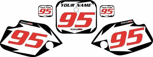 1990-1995 Honda CR80 Pre-Printed Backgrounds White - Black Shock - Red Numbers by FactoryRide