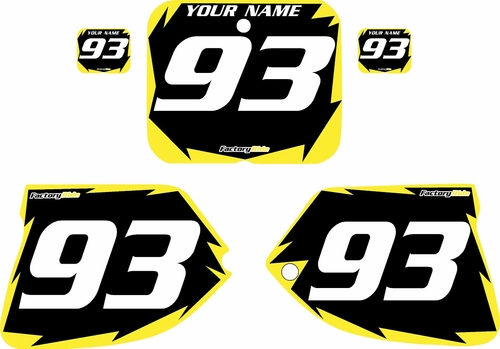 1993-1995 Suzuki RM125 Pre-Printed Backgrounds Black - Yellow Shock Series by FactoryRide