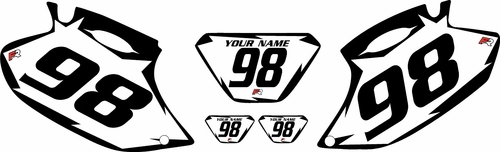 1998-2000 Yamaha WR400F White Pre-Printed Background - Black Shock Series by Factory Ride
